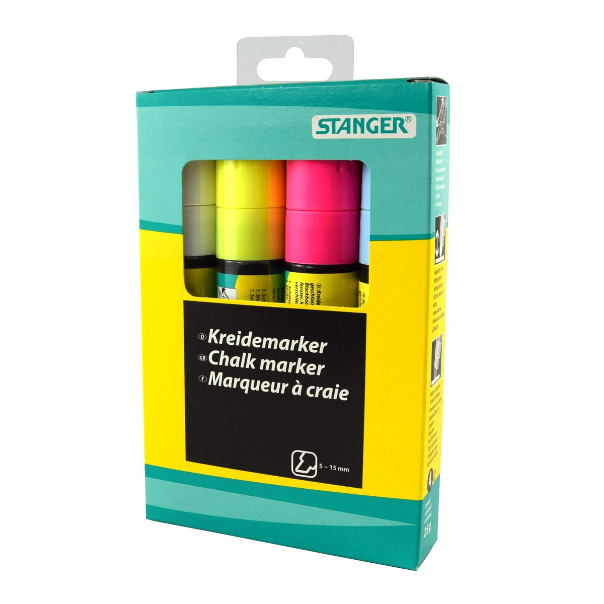 STANGER 620075Jumbo Chalk Marker Set White/Yellow/Pink/Blue