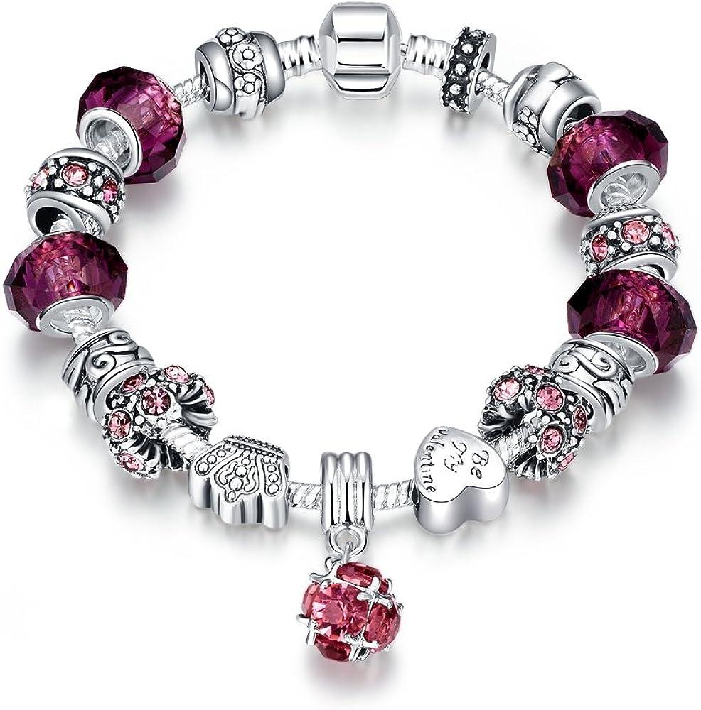 LDUDU® Pulsera Charms de Mujer Plateado de Plata con Charms de Cristal de Murano Regalo para Mujer Niña Cumpleaños Navidad San Valentin