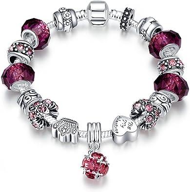 LDUDU® Pulsera Charms de Mujer Plateado de Plata con Charms de Cristal de Murano Regalo para Mujer Niña Cumpleaños Navidad San Valentin (Estilo de púrpura): Amazon.es: Joyería