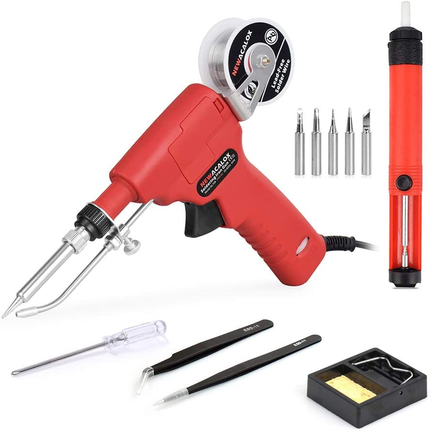 Soldering Iron Kit, Automatic One Hand Soldering Adjustble Temperature Solder Gun Kit Welding Tool with Lead-free Wire, Desoldering Pump for Welding Circuit Board, Appliance Repair, Home DIY
