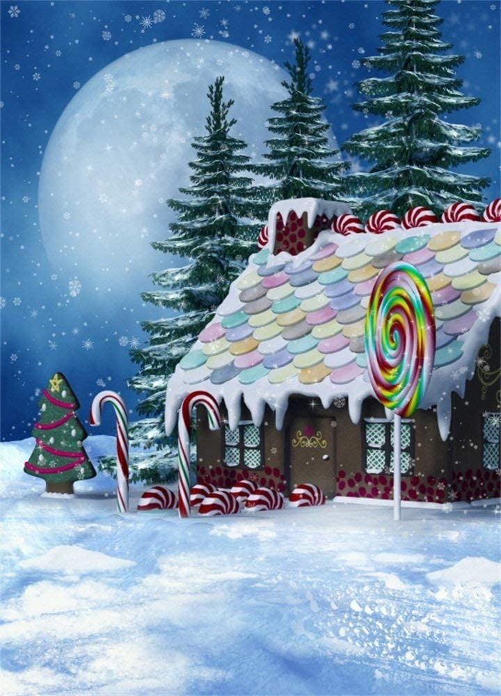 Gingerbread House 6x8FT Vinyl Photography Background Colorful Winter Snowy Christmas Winter Snow Pine Trees Full Moon Candy House Lollipops Backdrops Portraits Shooting Video Studio Props