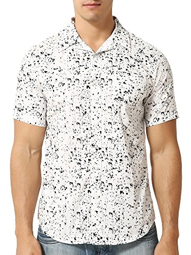 Mens Retro Button Up Short Sleeve White Casual Shirt With