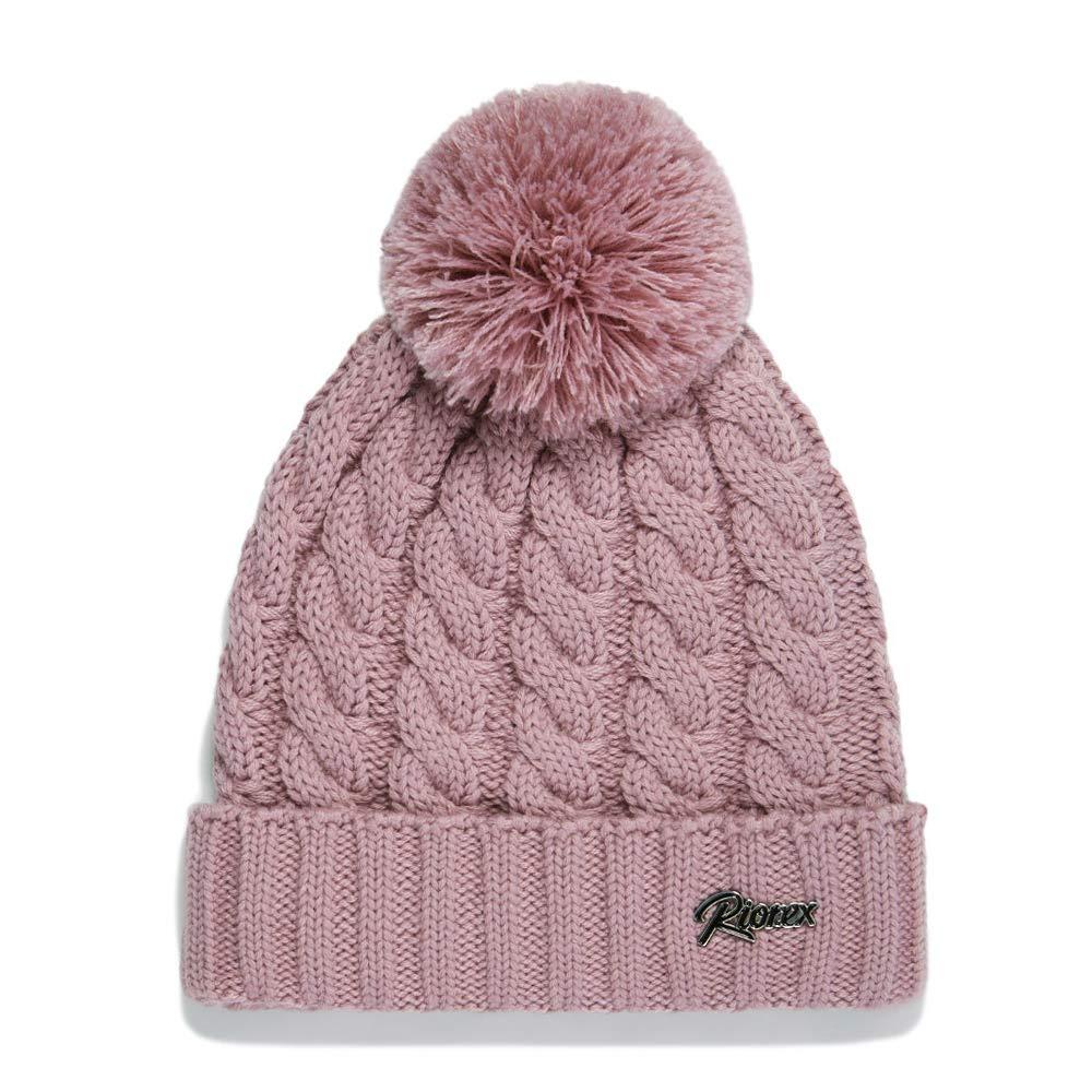 Riorex Women Fashion Winter Warm Thick Knit hat 40% Wool Fleece Lined Pom  Pom Beanie Hat 1805H019 (Pink-Metal Plate) 1874325905d4