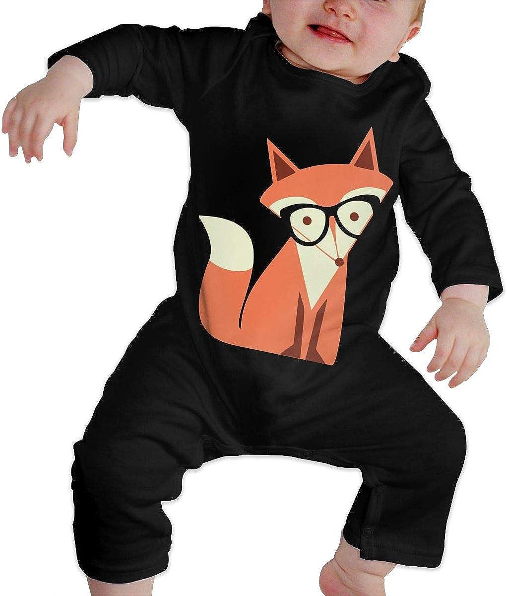 Cute Cartoon Hipster Fox Printed Newborn Baby Boy Girl Jumpsuit Long Sleeve Romper Black