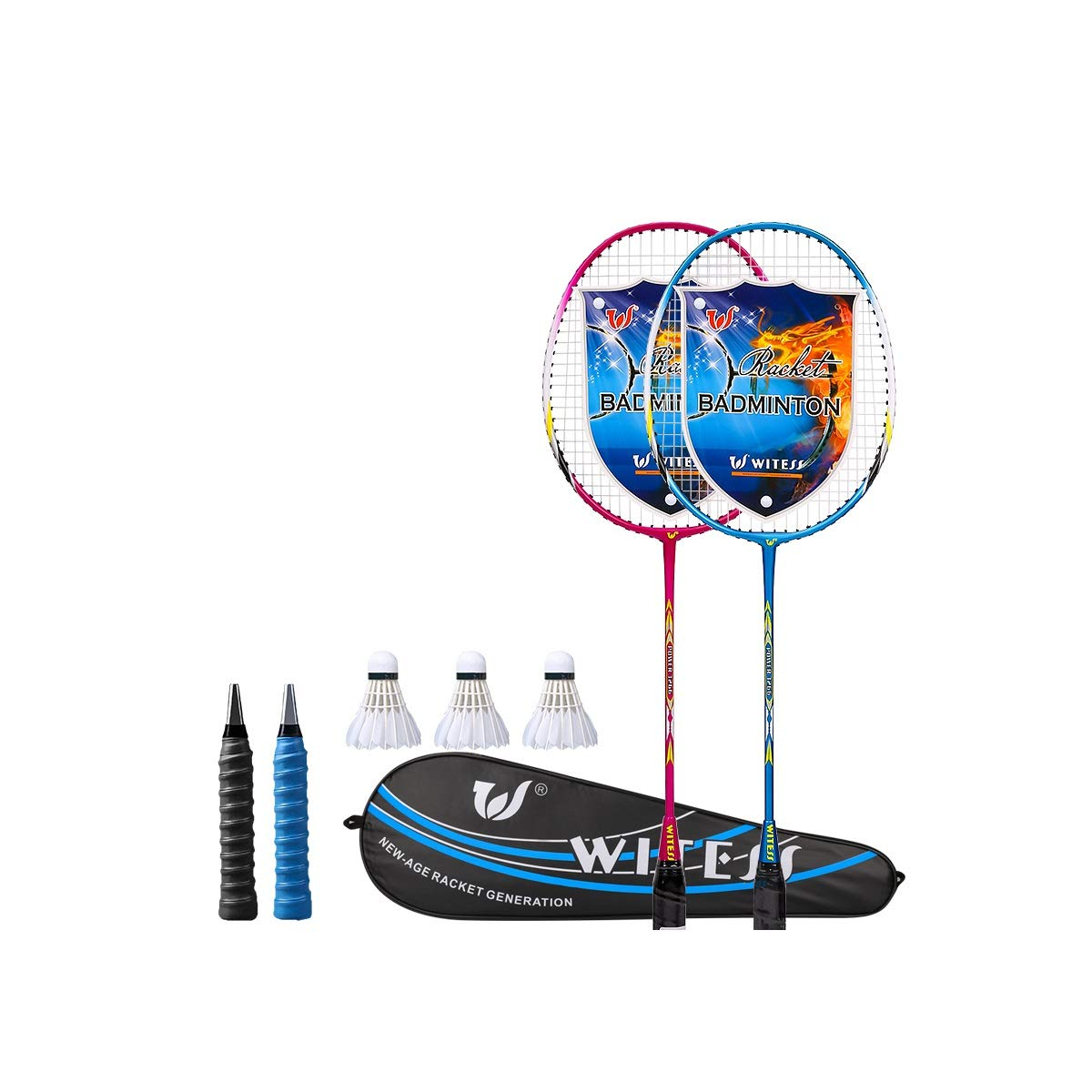 A5 Zhongyue Badminton Racket, Single and Double Shot, Adult and Men's Offensive and Durable. Junior Student Suit, color Choice Badminton Racket