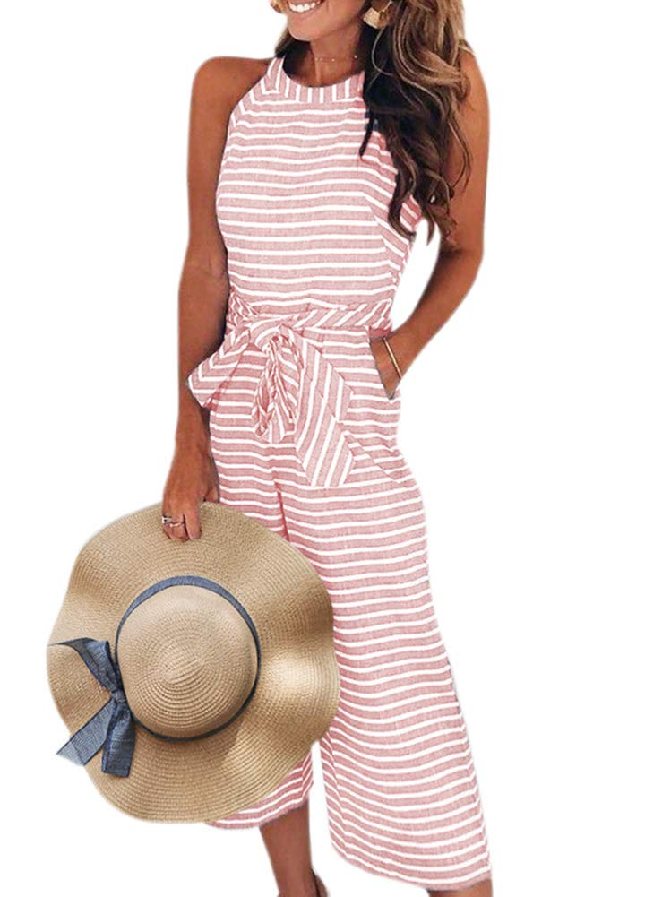 Romacci Women Wide Leg Jumpsuit Sleeveless Casual Striped Waist Belted Romper with Pockets