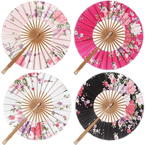 BABEYOND Spanish Floral Folding Hand Fan Vintage Handheld Lace Folding Fan Different Patterns Fabric Folding Fan Wedding Dancing Party (Chinese rose-Round Fan)