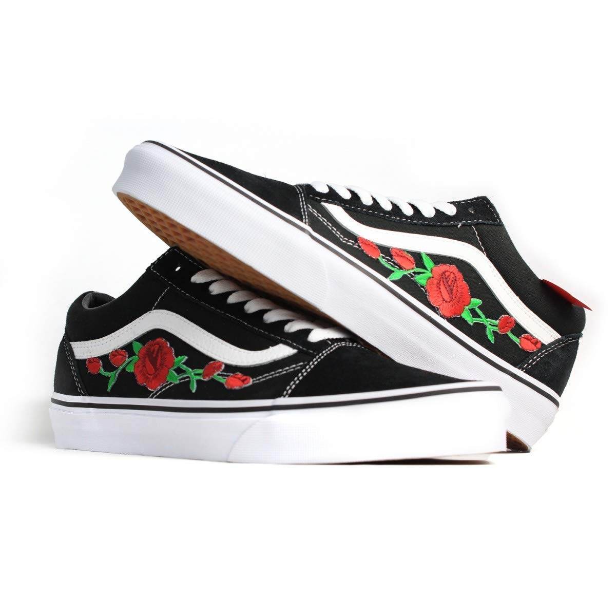 1af3ef790962b Vans Red Old Skool Embroidered Red Rose Custom Handmade Shoes By Patch  Collection