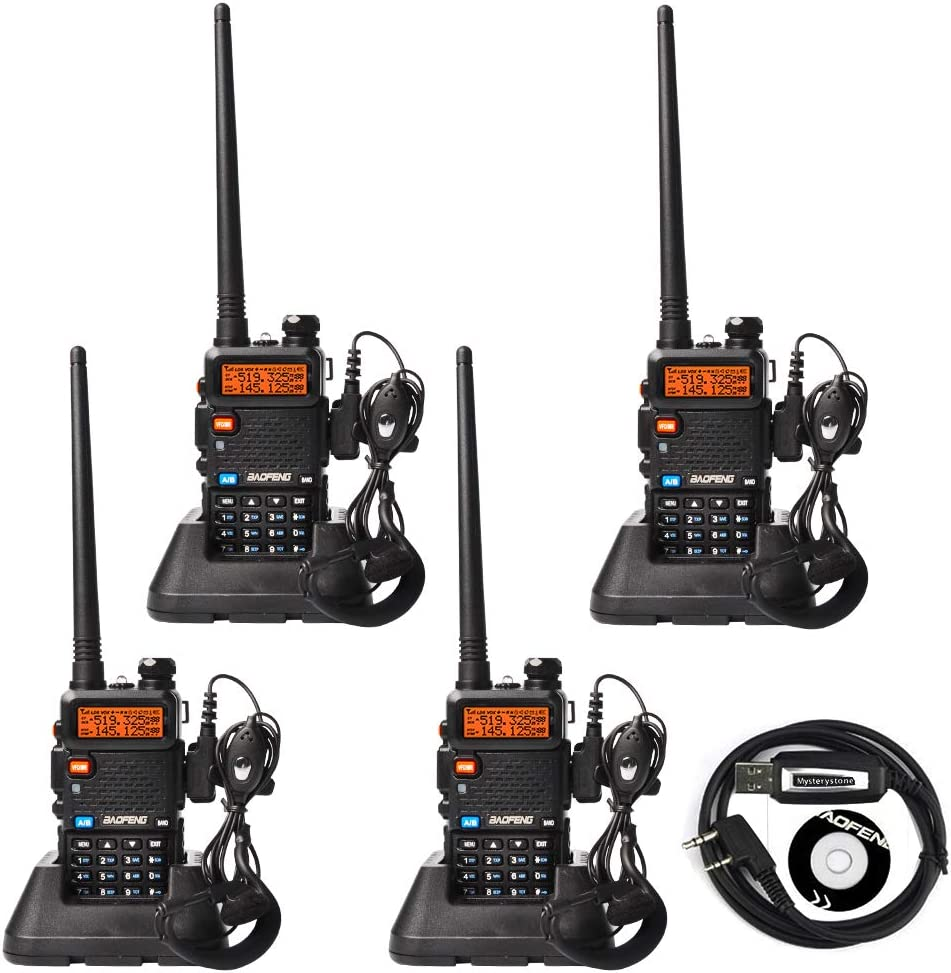 BaoFeng UV-5R Dual Band Two Way Radio 4 Pack UHF VHF 136-174 400-520 MHz FM Transceiver Ham Amateur Radio Walkie Talkies with Headsets and Programming USB Cable Mysterystone Customize