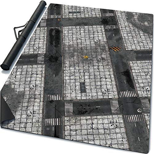 6' x 4' Rubber Battle Mat: Concrete + Carrying Bag, Thick Portable Anti-Slip «Mouse Pad» Neoprene War Game Board for Scale Miniatures, Terrain & Scenery, 72 x 48 Inches -
