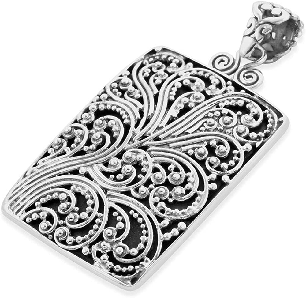 Royal Bali Ocean Waves Pendant Handmade Artisan Crafted 925 Sterling Silver for Women