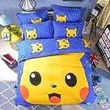 Ln 4 Piece Kids Cute Blue Yellow Pikachu Duvet Cover Full Set, Adorable Pokemon Theemed Bedding Anime Cartoon Pika Chu Poke Mon, Cotton Polyester