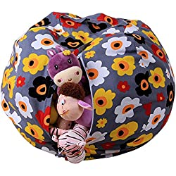 "Fenleo Stuffed Animal Plush Toy Storage Bean Bag Chair with Extra Long Zipper, Carrying Handle, Soft Pouch Stripe Fabric, Large Size at 16"", Excellent Solution for Toys and Clothes"