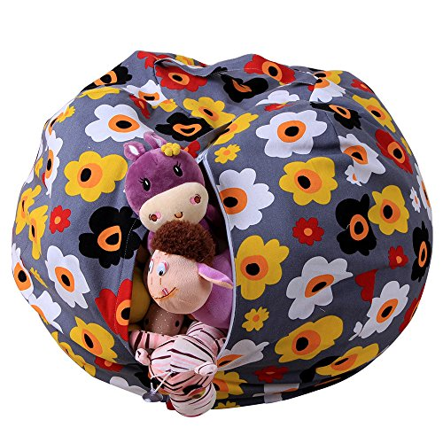 """Fenleo Stuffed Animal Plush Toy Storage Bean Bag Chair with Extra Long Zipper, Carrying Handle, Soft Pouch Stripe Fabric, Large Size at 16"""", Excellent Solution for Toys and Clothes"""