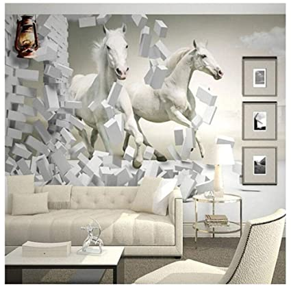 Home Improvement Custom 3d Wall Murals Wallpaper White Horse