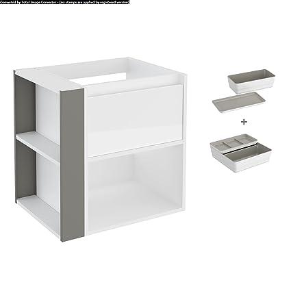 Bath+ By Cosmic B080906001679M Mueble 1 cajón y 1 estante para lavabo 120  Blanco Gris 5d46d21bd97c