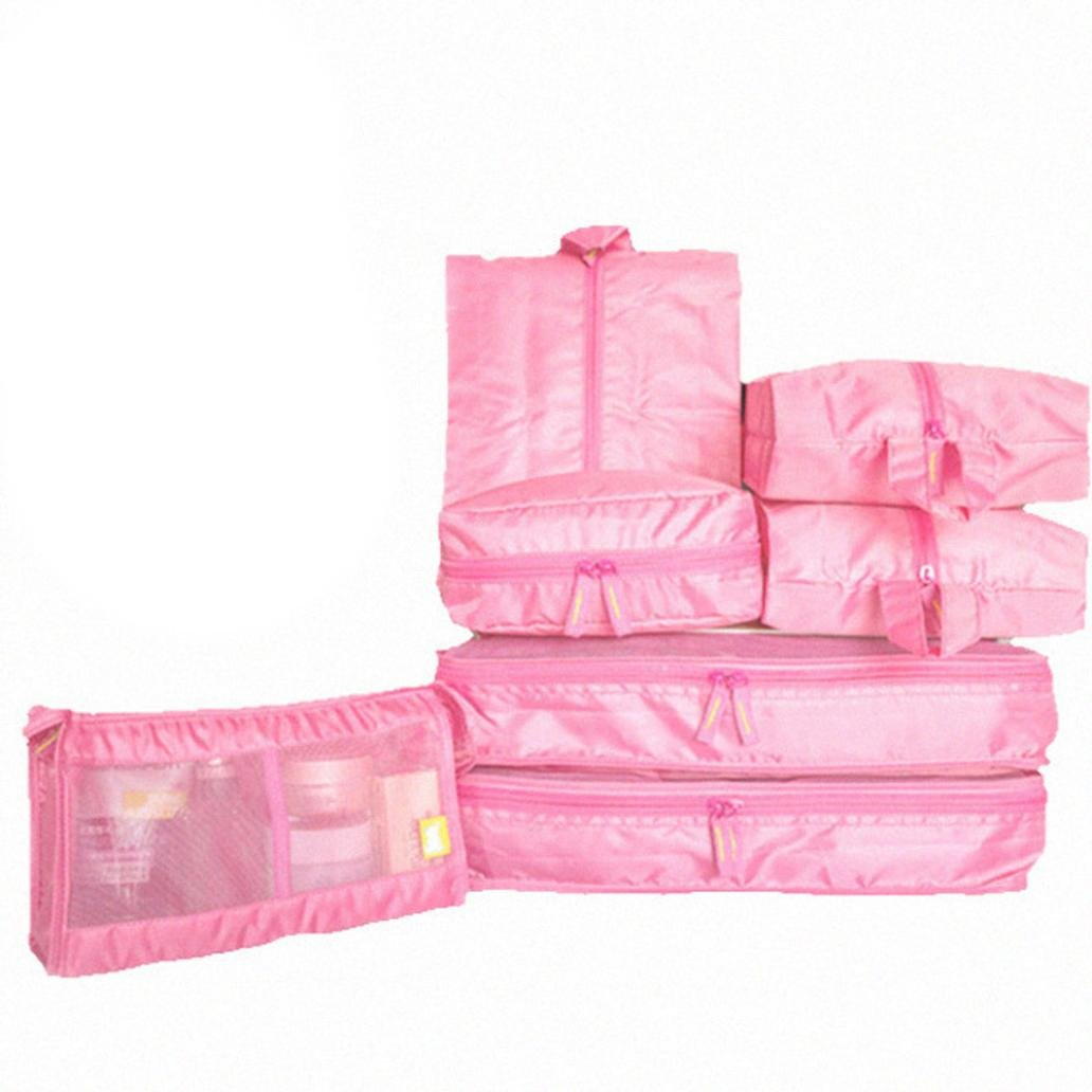 Cinhent Bag 1Set (7PCS) Portable Luggage Travel Storage Bag, Organizer Tidy Cosmetics And Clothes Bag, Back To School Students Necessary (Hot Pink)