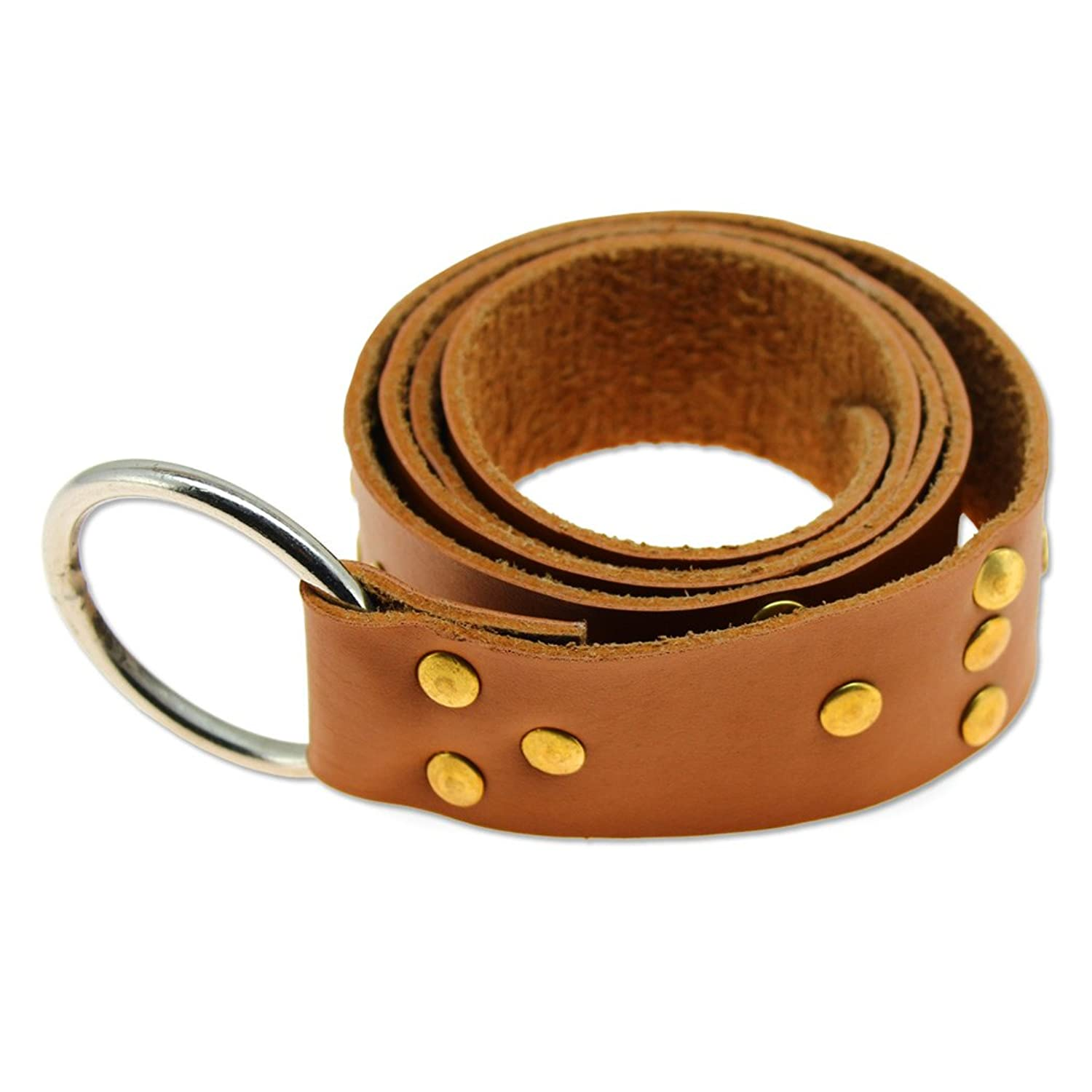 Deluxe Adult Costumes - Tan studded leather templar ring loop belt by Swordsaxe