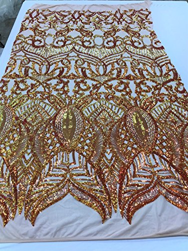 4 Way Stretch Iridescent Sequins Embroidery Laced Fabrics - Iridescent Orange Yellow with Nude Mesh - Lace Hologram Sequined Fabrics by The ()