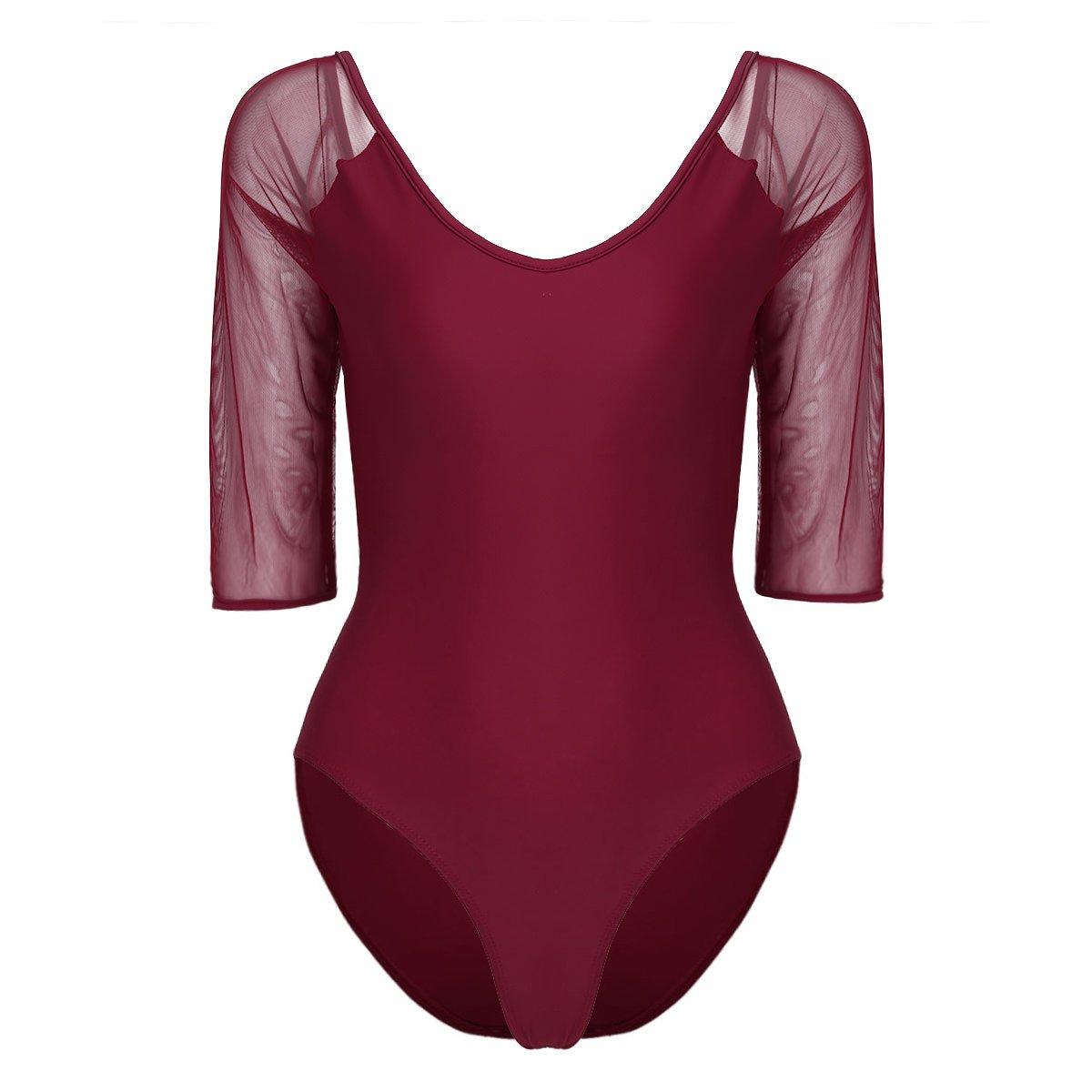 Tiaobug Damen Body mit 3/4 Ärmel Langarm aus Spitze Mesh Elegant Top Shirt Unterhemd Overall Strech Ballettanzug Ballett Trikot Sportwear