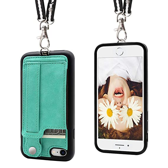new concept 8c54a 135e2 iPhone 7/8 Wallet Case Lanyard Neck Strap TOOVREN iPhone 7/8 TPU Protective  Purse Case Cover with Kickstand Leather PU Card Holder Adjustable ...
