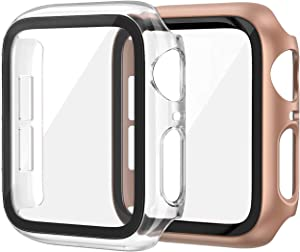 EDIMENS 2 Pack Hard PC Case Compatible with Apple Watch Series 6 / SE / 5 / 4 40mm Women Men, Overall PC Case Slim Tempered Glass Screen Protector Protective Cover for Apple iWatch 40mm SE Rose Clear