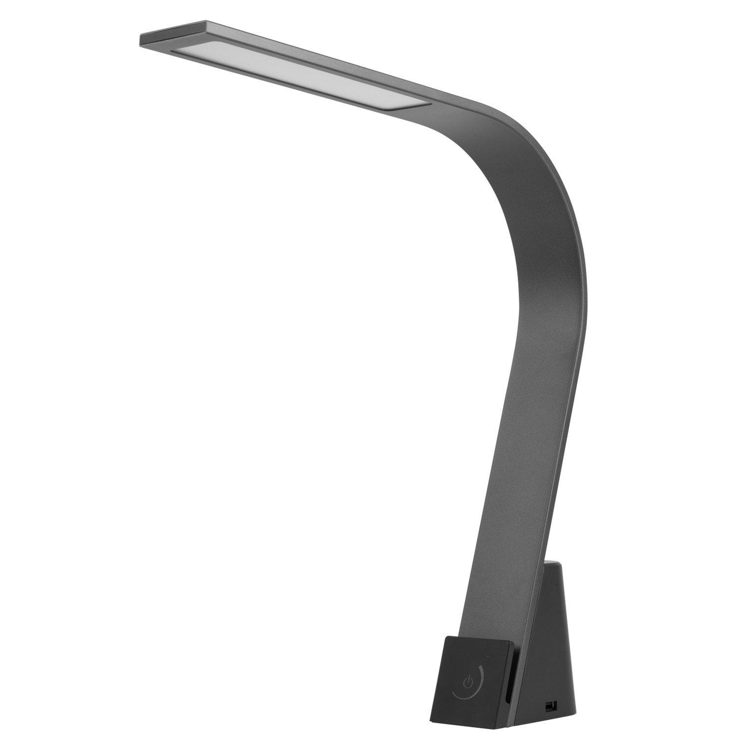 Lumesty Phoenix LED Integrated Desk Lamp, Matte Graphite Finish, Integrated Phone Holder, 2 Fast Charging 2.1A USB Ports, On/Off/Dimmable Touch Switch, 30068