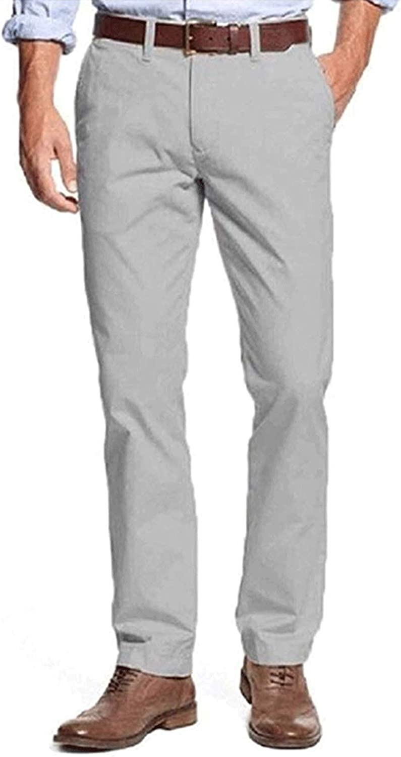 Tommy Hilfiger Mens Cotton Flat Front Tailored Fit Chino Casual Dress Pants