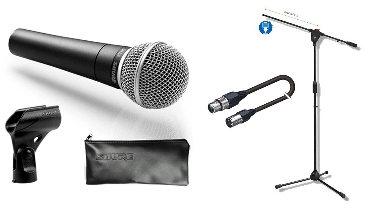 Shure SM 58Mikrofon-Set mit Galgenstativ und XLR Kabel