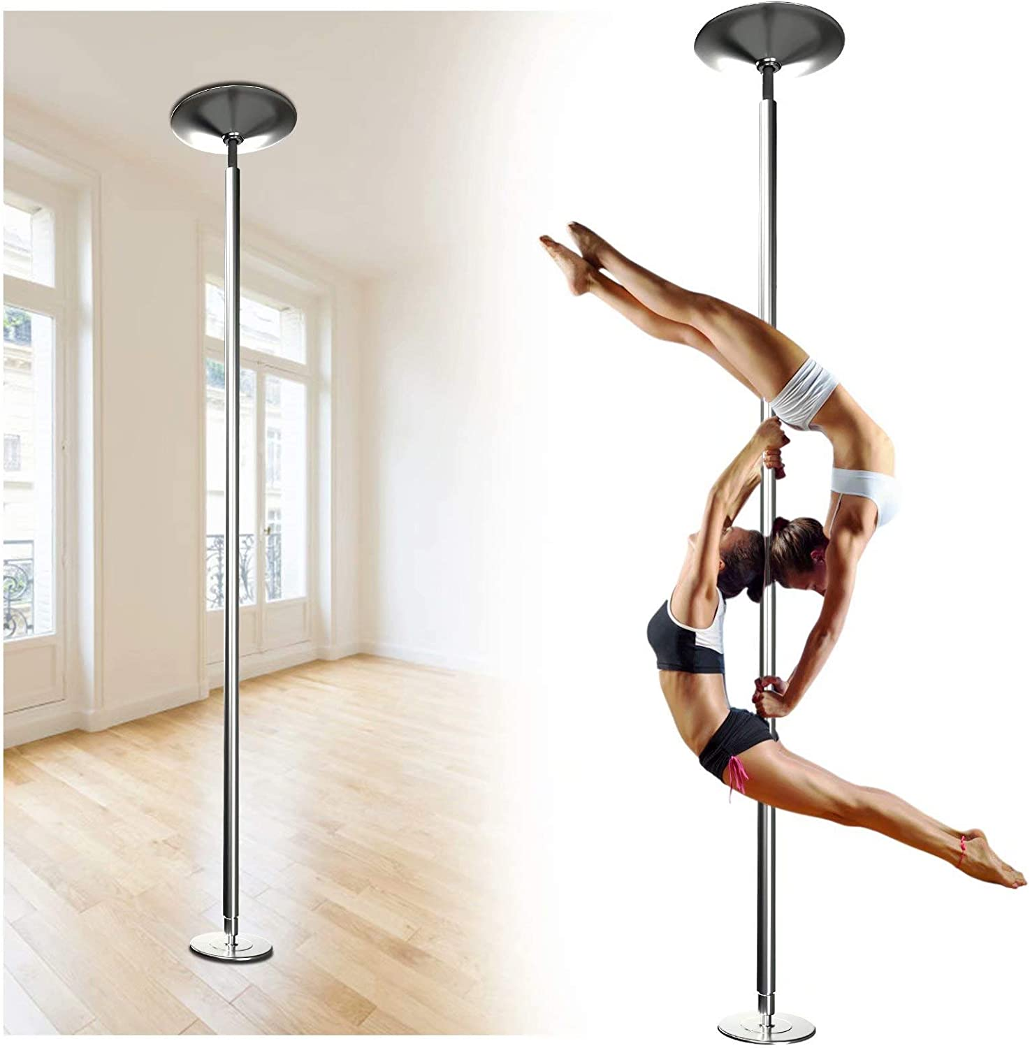 AolliePawer 45mm Upgraded Portable Dance Pole for Beginner and Professional Tripper,Large Adjustable Height,Removable Spinning and Static Dancing Pole for Home,Fitness Club,Bar Party