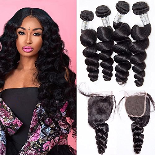 Maxine Hair 10A Loose Wave Bundles with Closure (12 14 14+10) Unprocessed Peruvian Weave Hair Human 3 Bundles with 4x4 Closure Free Part with Baby Hair Natural Color