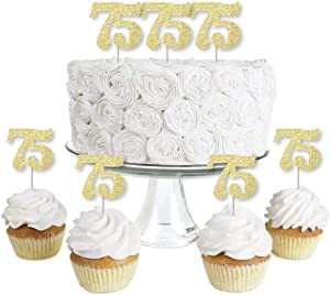 Gold Glitter 75 - No-Mess Real Gold Glitter Dessert Cupcake Toppers - 75th Birthday Party Clear Treat Picks - Set of 24