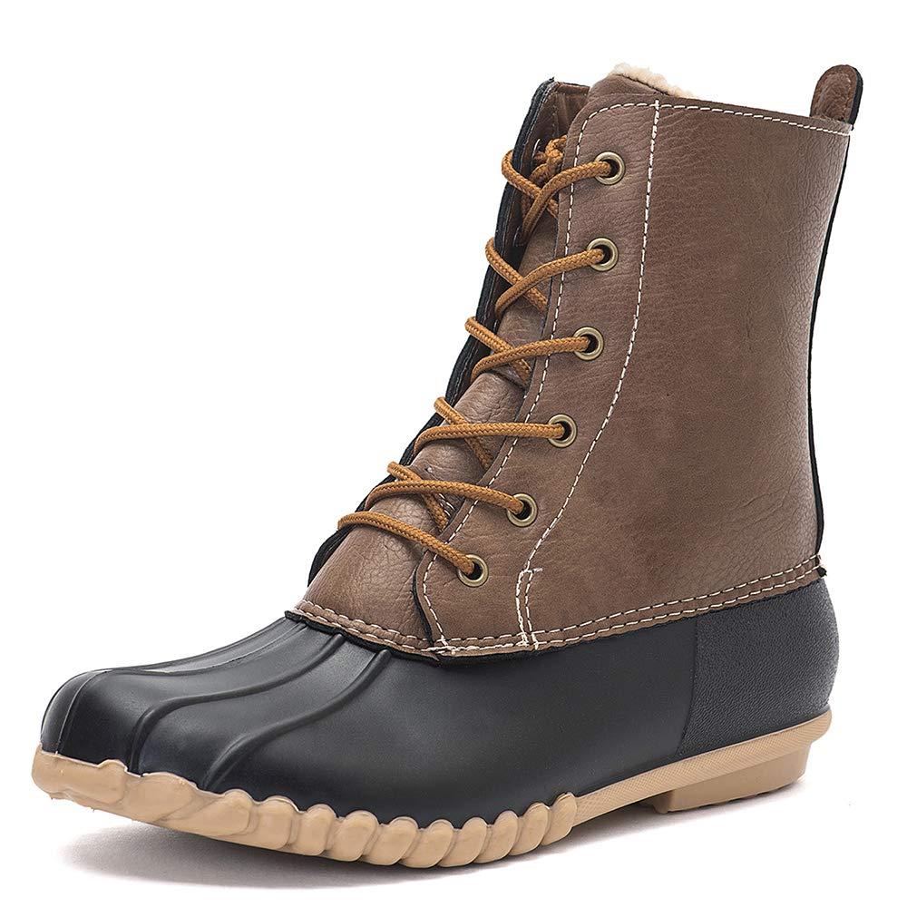 Black DKSUKO Women's Winter Duck Boots with Waterproof Zipper