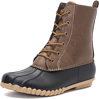DKSUKO Women's Winter Duck Boots with Waterproof Zipper Rain Boots for Women