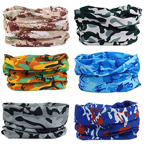 Headwear Bandanna Headband-6PCS Yoga Sports US Flag Balaclava,Head Wrap, Neck Gaiter,Multifunctional Stretchable Sport Face Mask Face Mask (6Camo Series)