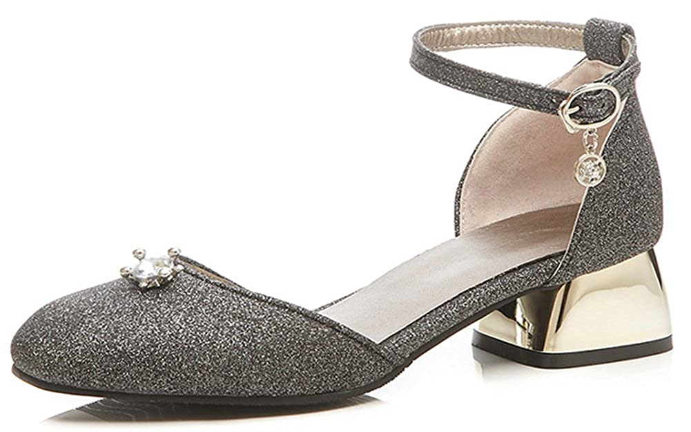 0cf90781b63b Amazon.com | IDIFU Women's Sparkly Square Toe Ankle Strap Mid Chunky Heel  Pumps with Pendant | Pumps