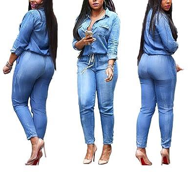 a43d3ec93d Amazon.com  SMUDGE Life Women s Blue Sexy Sleeveless Bodysuit Denim Romper  Hole Jean Tank Jumpsuit  Clothing