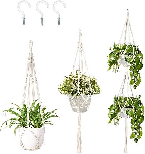 Plant Hanger Flower Pot Plant Holder Macrame Jute Rope with Hooks Indoor Hanging