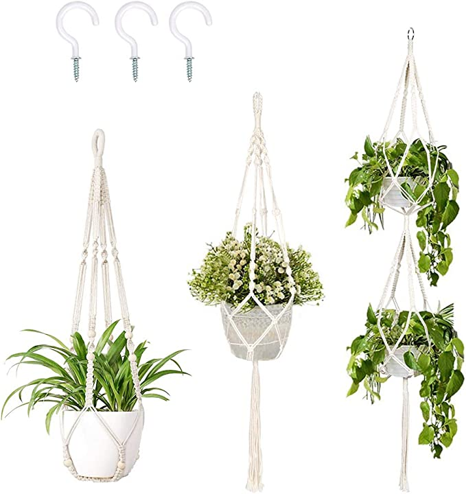 Cotton Rope 4 Legs Accmor 3 Pack Macrame Plant Hanger Indoor Outdoor Hanging Plant Holder Hanging Stand Flower Pots Planter for Decorations 3 Sizes