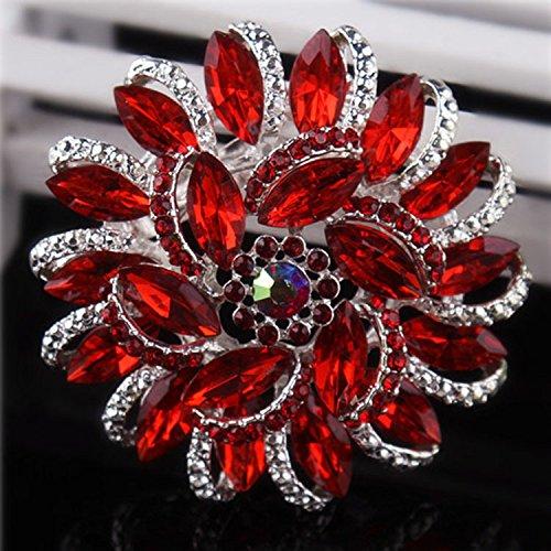 Urberry Crystal Diamond Flower Brooch Pin for Women Girls Brides (Red) (Pin Butterfly Brooch Diamond)