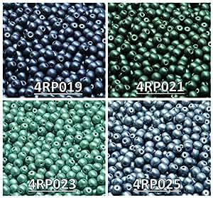 Cuentas de vidrio checas presionadas redondas de 4mm. Set RP 405: 4 colores, total de 400 perlas (1/3 Mass), 4RP019 4RP021 4RP023 4RP025