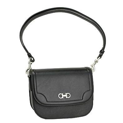2176cfc40651 Ferragamo Women s Guncini Saffiano Black Leather Shoulder Bag 21F890 ...