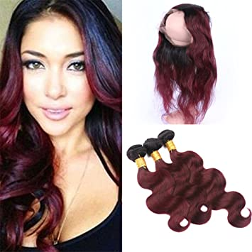 Burgundy Ombre 360 Frontal with Bundles Pre Plucked 1B 99J Wine Red Ombre  Brazilian Body Wave 1ffc6d83c