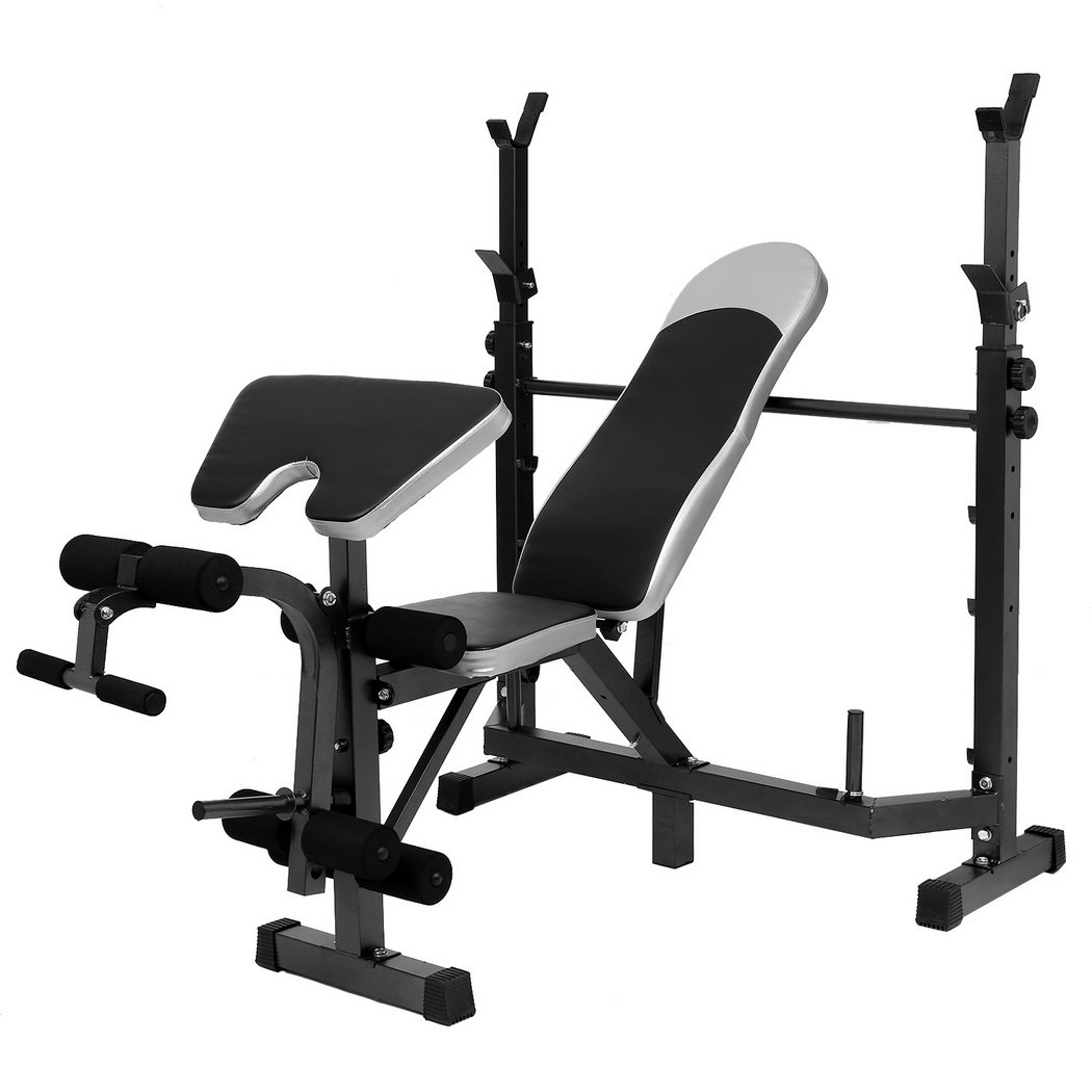 Tomasar Olympic Weight Bench with Preacher Curl, Leg Developer, Multi-Functional Weight Bench Set for Indoor Exercise (Black 1)