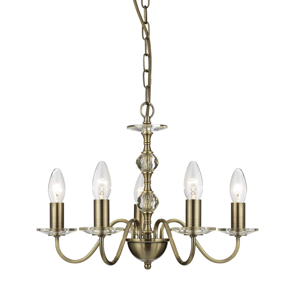 Lámpara de techo en bronce antiguo estilo modernista 5 x E14 ...