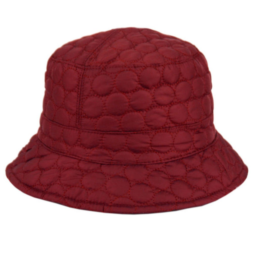 Foldable Water Repellent Quilted Rain Hat w/Adjustable Drawstring, Bucket Cap (Burgundy)