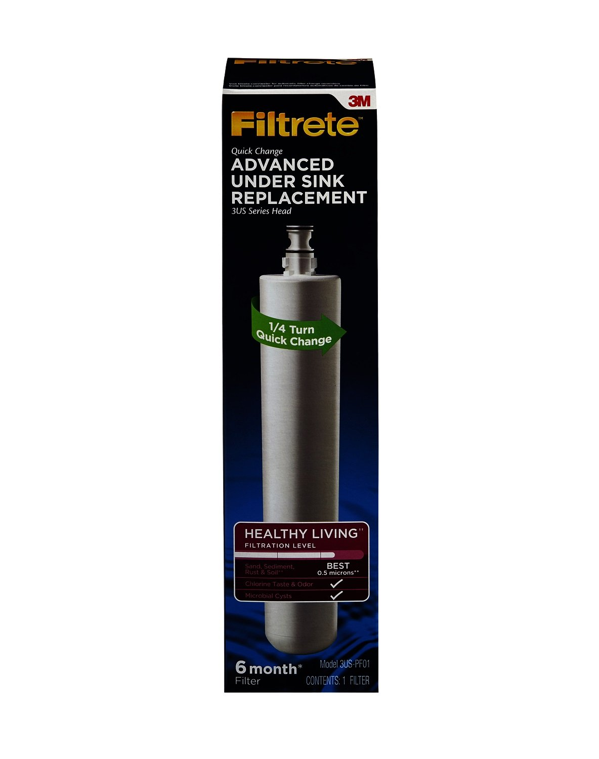 Filtrete Advanced Under Sink Quick Change Water Filtration Filter, 6 Month Filter, Reduces Microbial Cysts, 0.5 Microns Sediment and Chlorine Taste & Odor, (3US-PF01) by Filtrete (Image #2)
