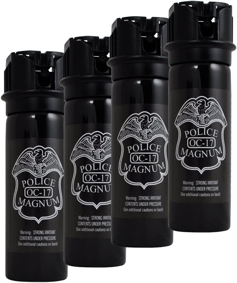 POLICE Magnum Pepper Spray with UV Dye and Flip Top Pack of 4 , Black, 3-Ounce