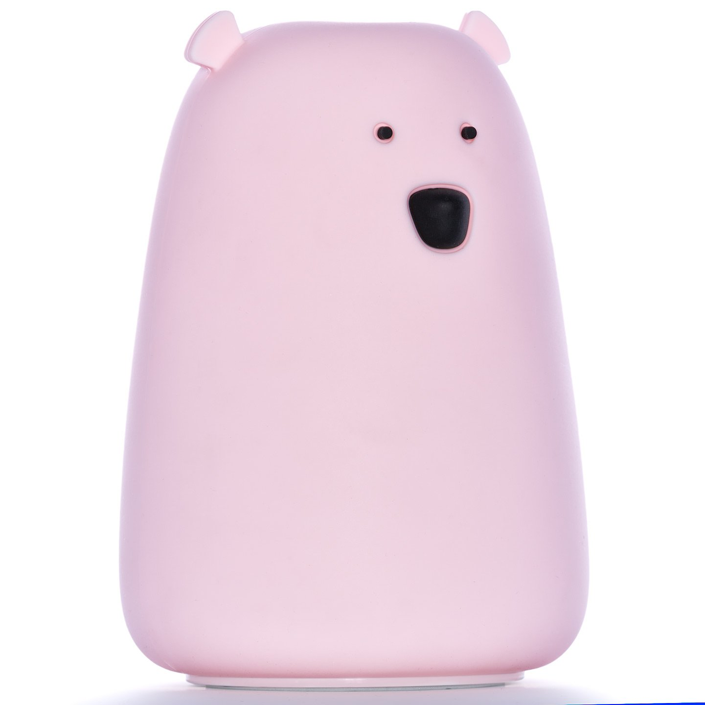 Moogi Color Changing Night Light Kids - Baby Night Light Bear Lamp, Rechargeable LED Nightlight, Soft Silicone Pink Night Light