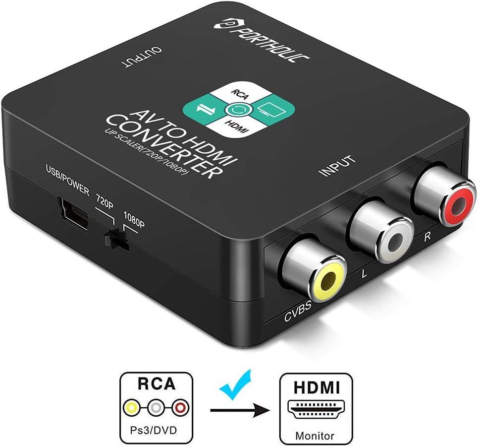 RCA a HDMI Adaptador, PORTHOLIC 1080P AV a HDMI Convertidor de ...